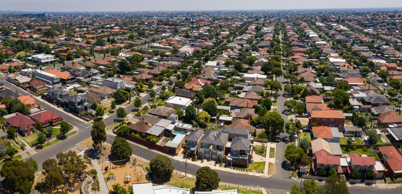 drone air shot of suburb