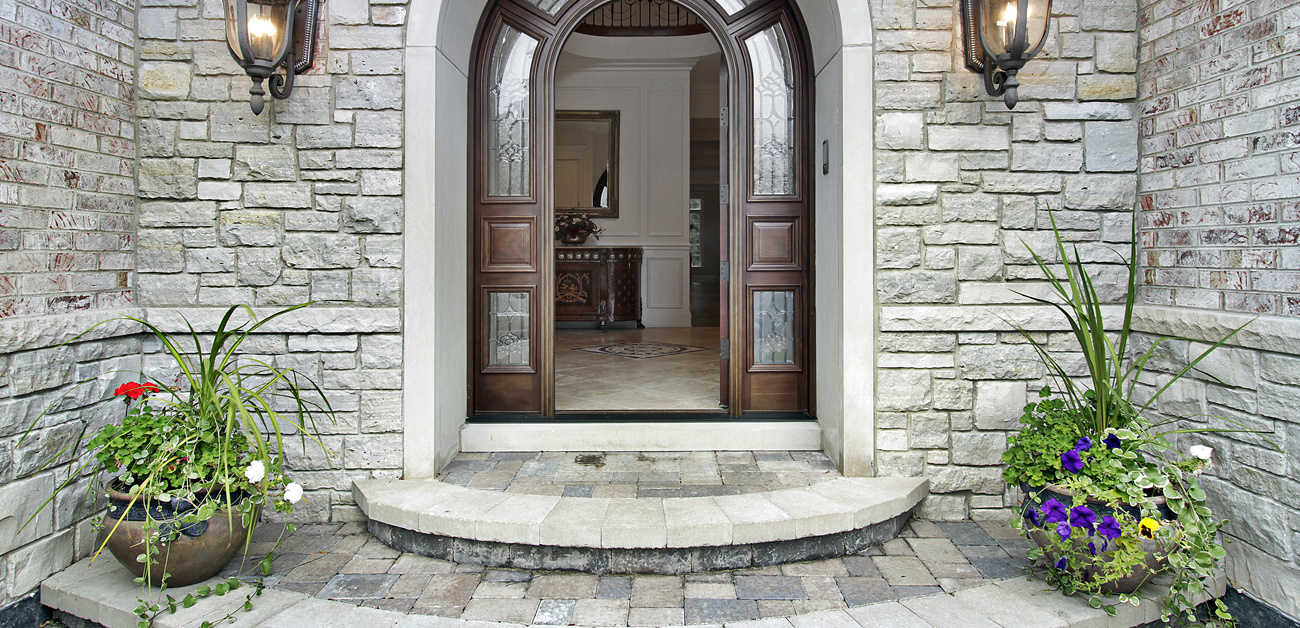 Open front door in luxury home