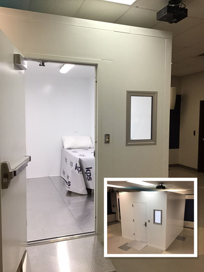 enclosed isolation room in hospital