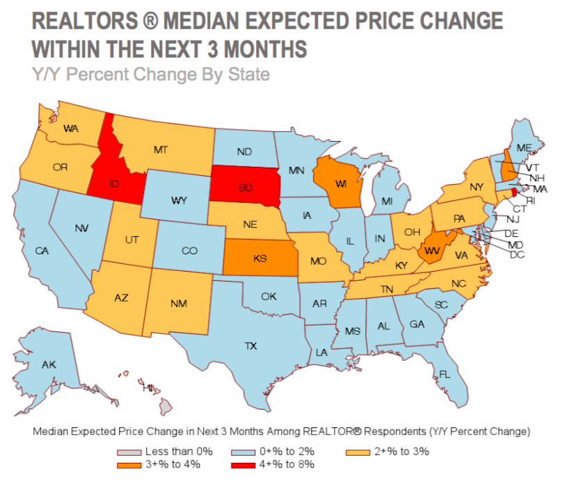 Median price change chart by state. Visit source link at the end of this article for more information.