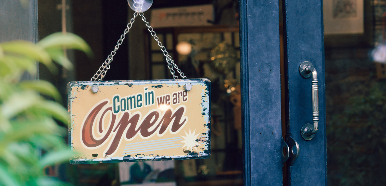Open sign at small shop
