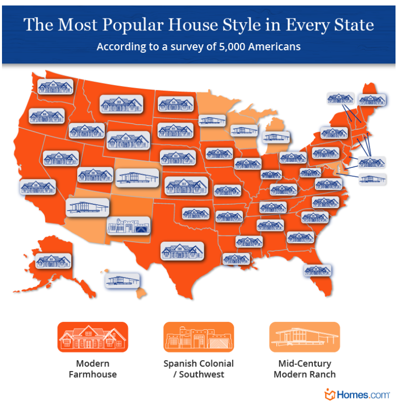 Map showing most popular home styles across the nation. Visit source link at the end of this article for more information.