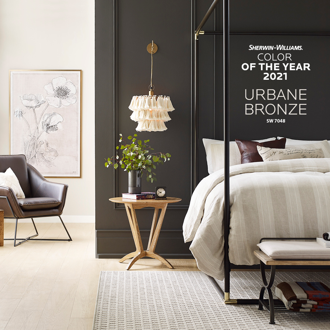 Wall painted in bronze color