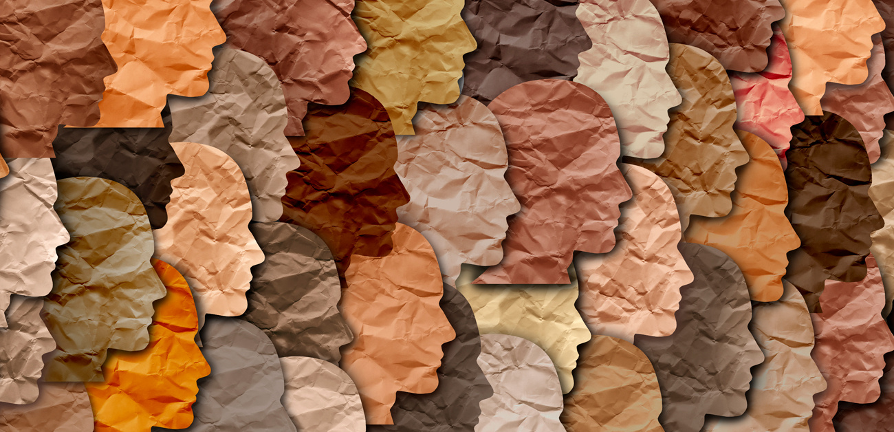 face silhoutes in different skin tones