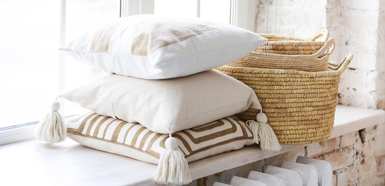 pillows and baskets