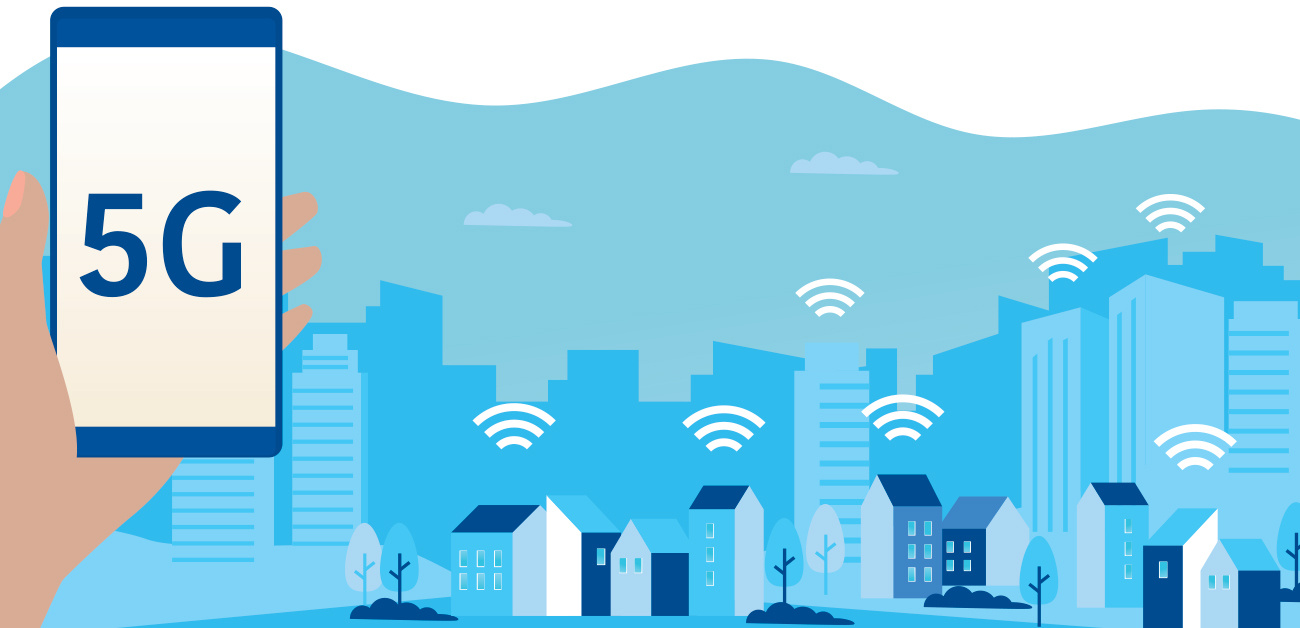 conceptual illustration 5G on phone, city with wireless symbols in background