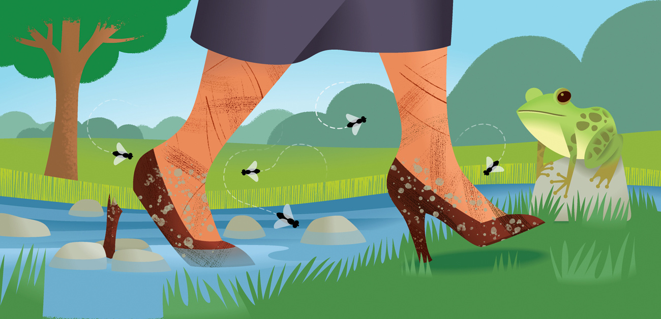 illustration of woman walking though stream in heels