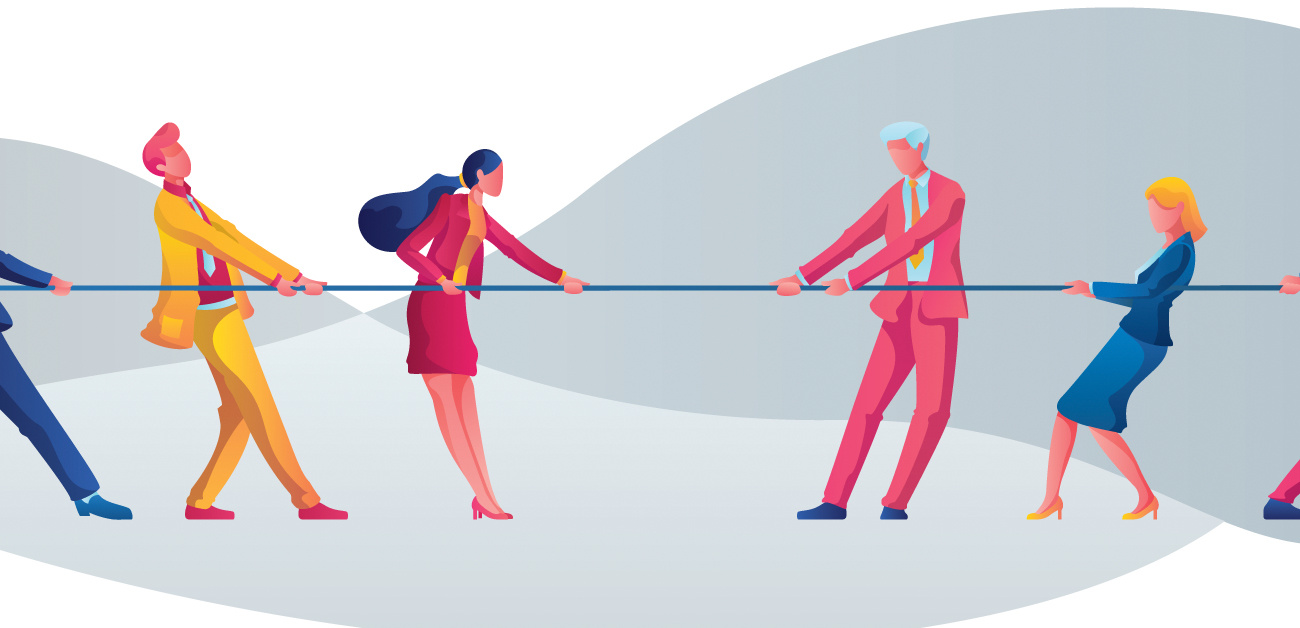 Illustration of business people in tug of war