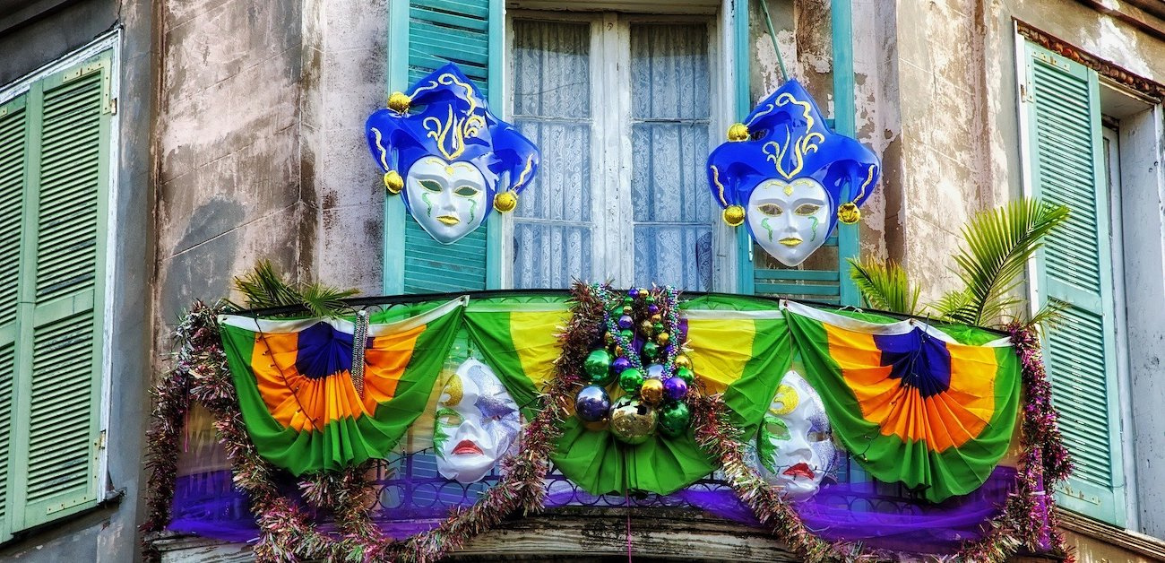 Homes decorated for Mardi Gras in New Orleans.