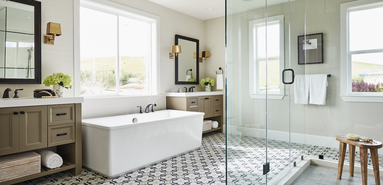 Dual vanity bathroom with freestanding tub and large walk-in shower