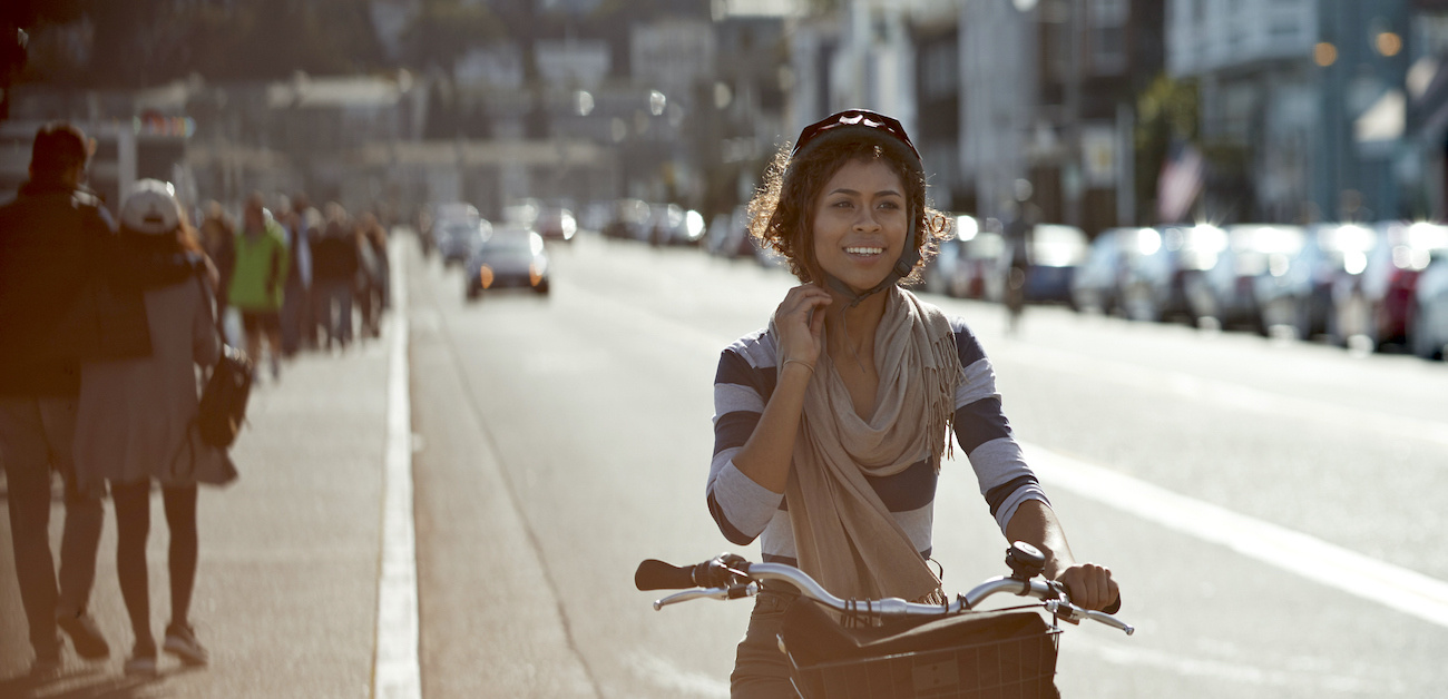 Woman on bicycle in Sausalito, California.