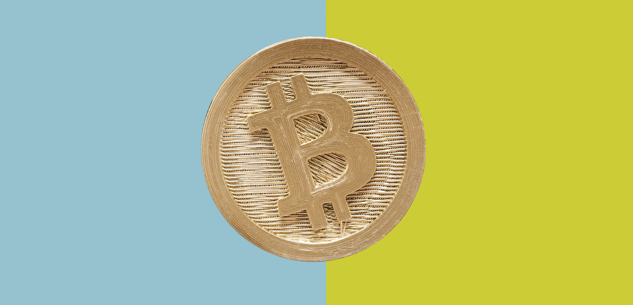 Bitcoin cent piece with colorblock background