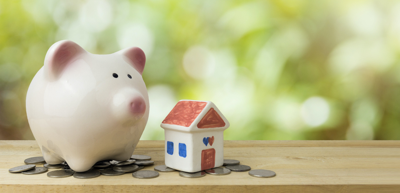 Piggy bank representing saving for down payment