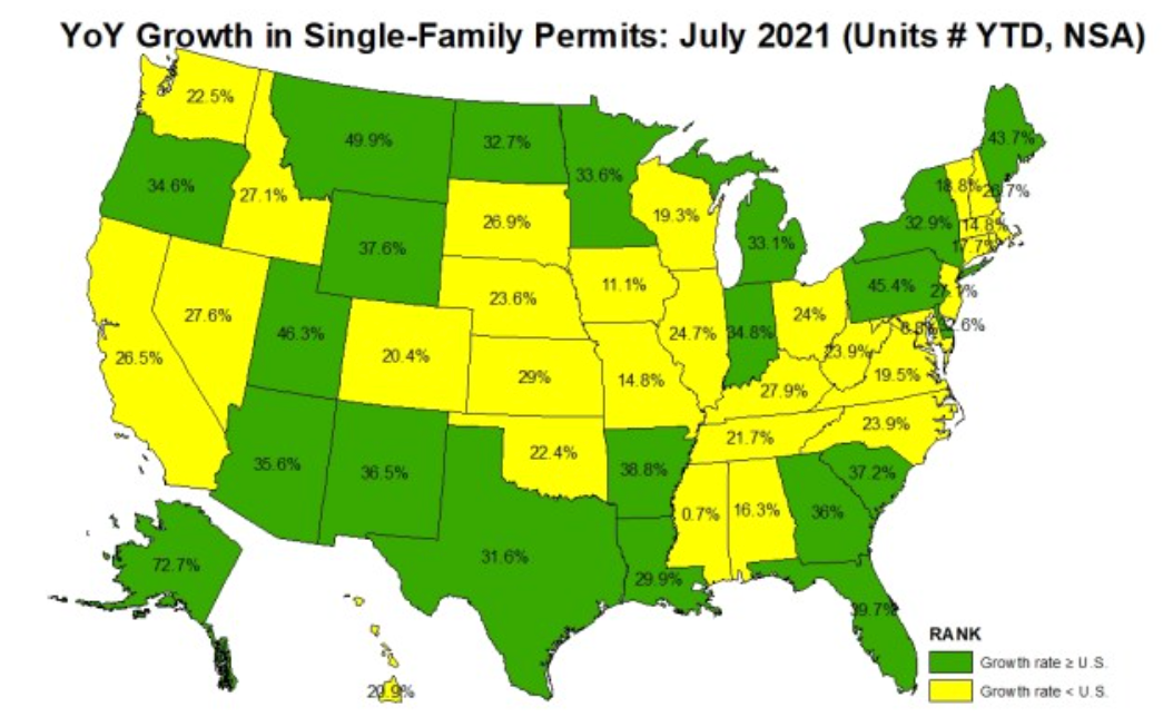 A map of the U.S. showing states with higher rates of single-family permits in yellow and states with lower rates in green.