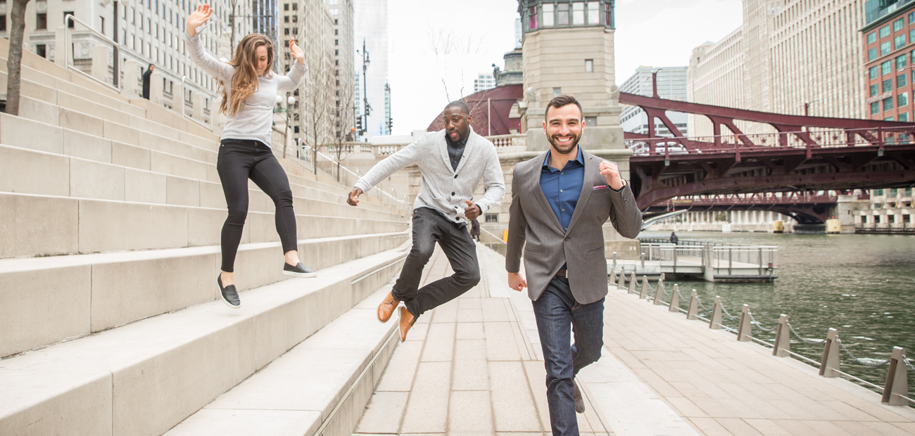 30 Under 30 honorees, Isabel Affinito, Brian Erhahon and Randy Horn at the Chicago river walk