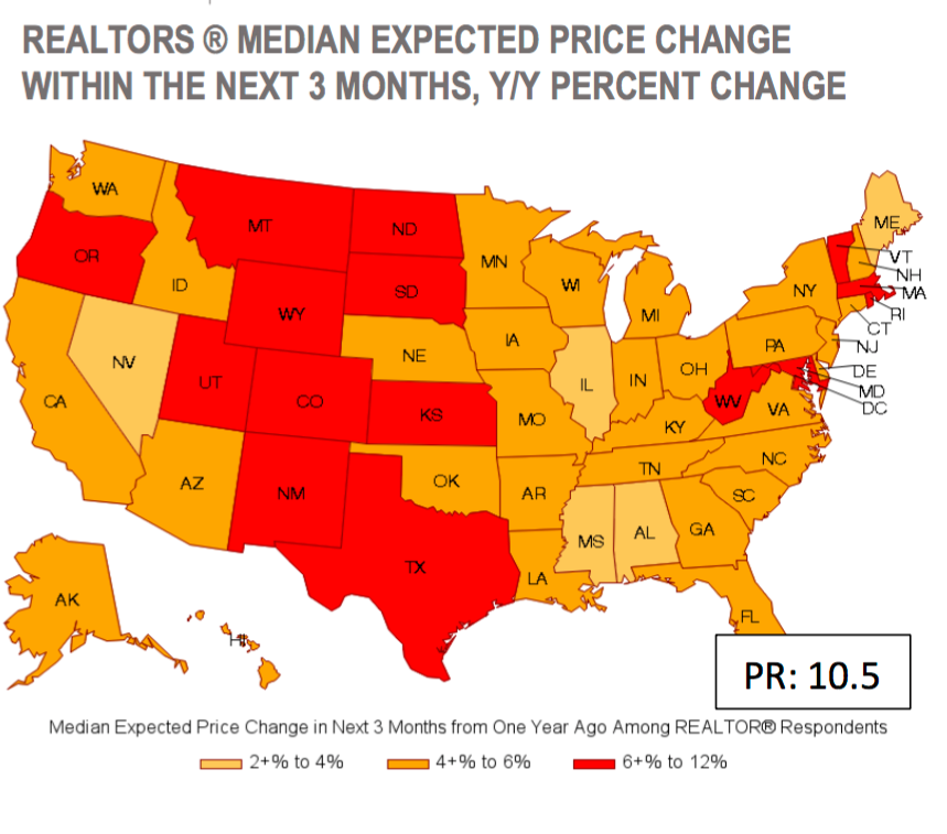 An image of the United States map showing the anticipated range of home price increases per state.