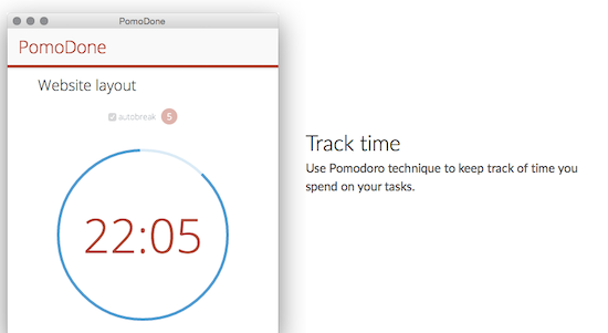 PomoDome time tracking app interface