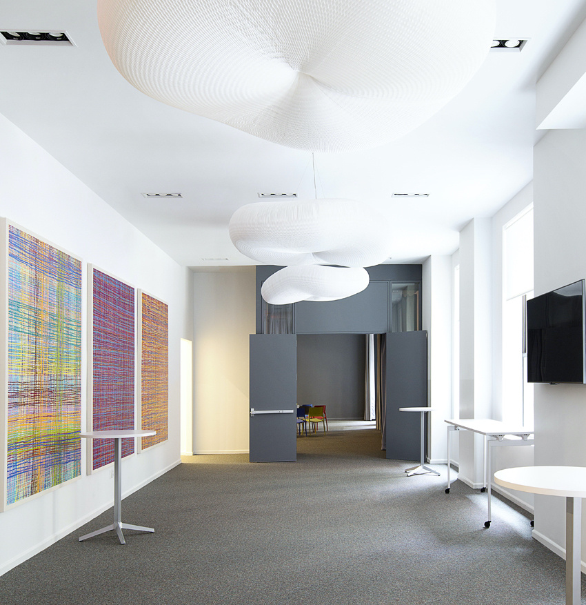 Conference room hallway with bold art.