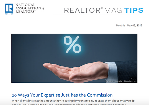 screenshot of REALTOR® Magazine's business tips email newsletter
