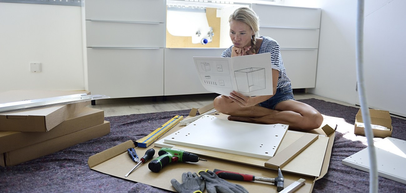 Woman working on home project