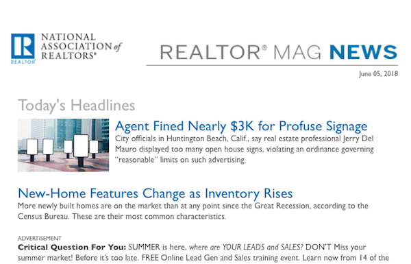 screenshot of REALTOR® Magazine's daily news email newsletter