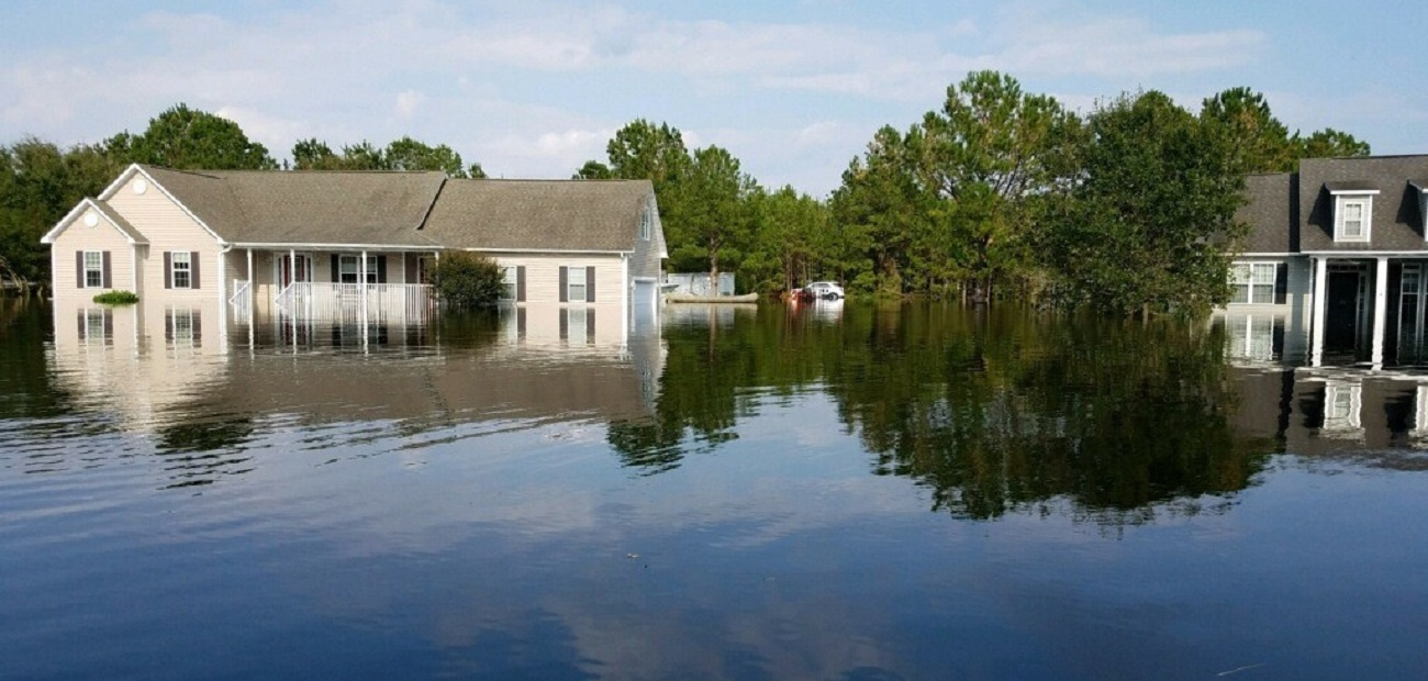 Flooded homes in Wilmington, N.C., after Hurricane Florence