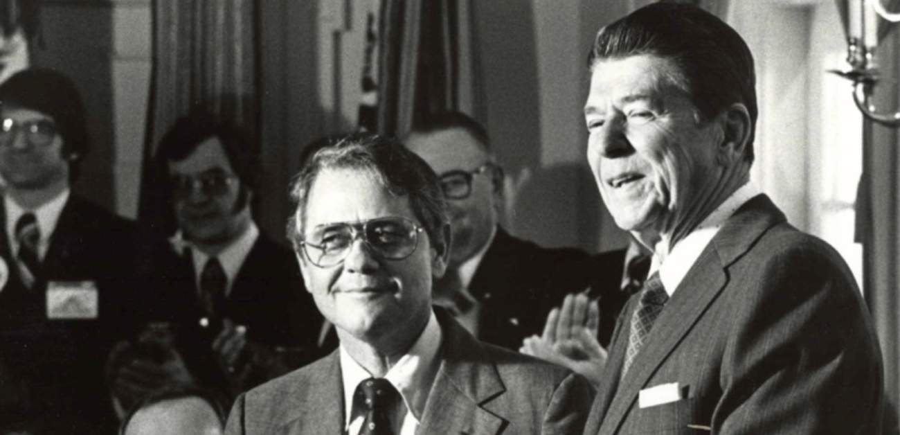 NAR President John Wood (center) and U.S. President Ronald Reagan in March 1981