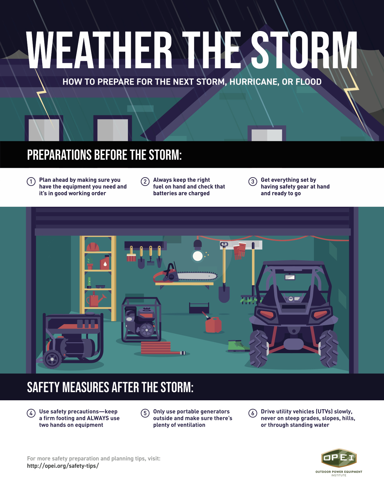 Weather the storm infographic with tips from the Outdoor Power Equipment Institute.