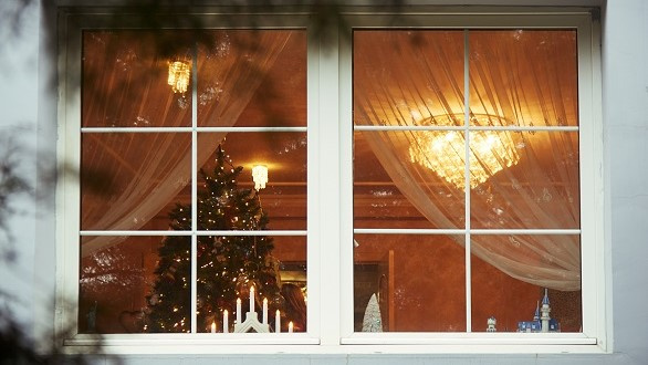 Looking through window at decorations in home