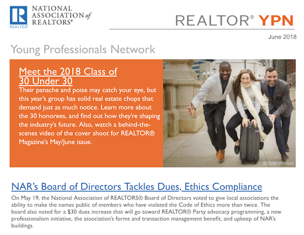 screenshot of REALTOR® Magazine's YPN email newsletter