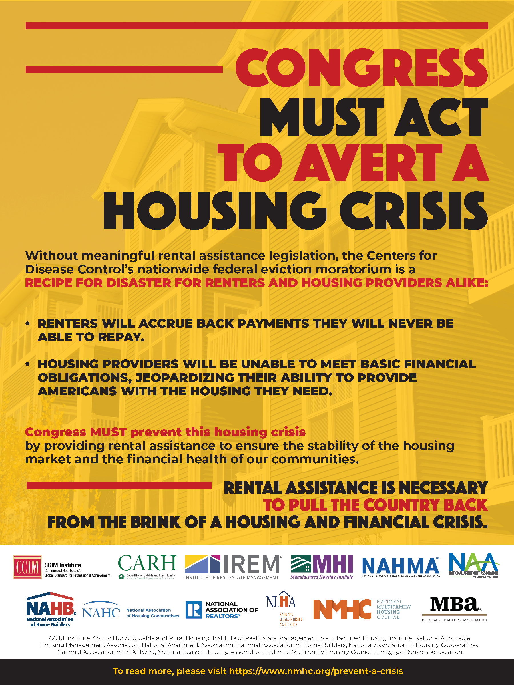 ad run by housing groups calling on Congress for financial relief