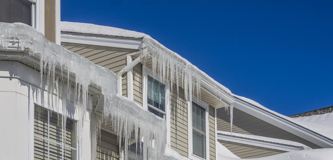 Roofline with ice dams