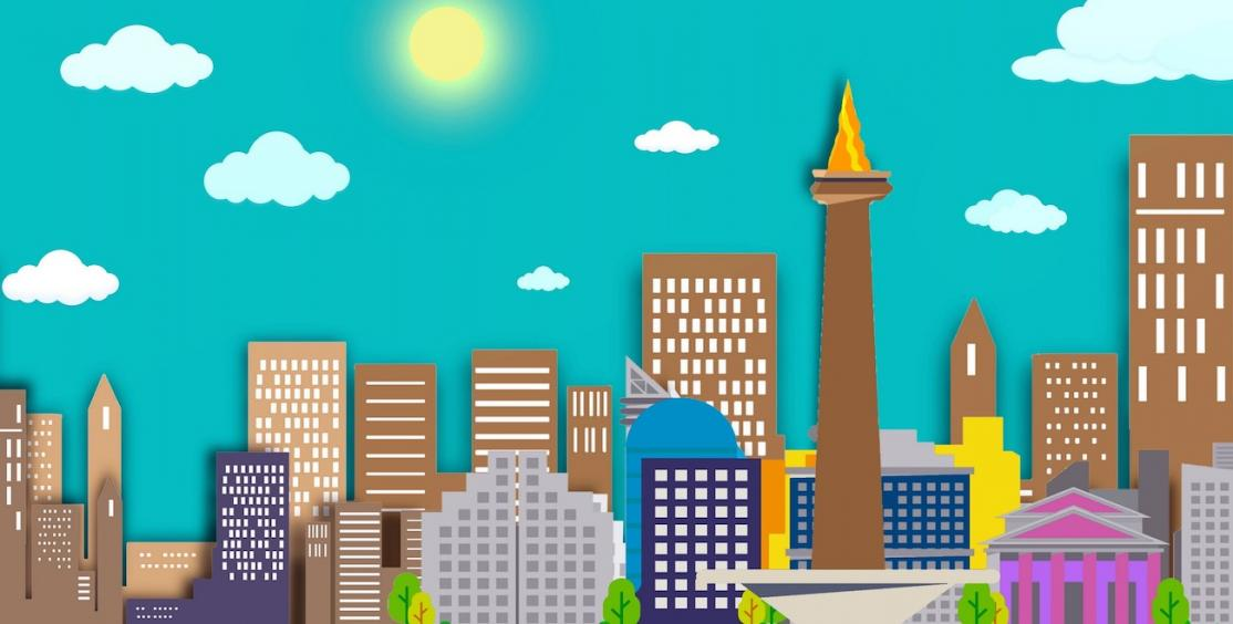 Graphic skyline of various highrise and commercial buildings