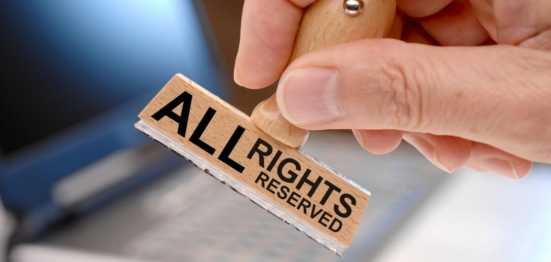 all rights reserved printed on rubber stamp