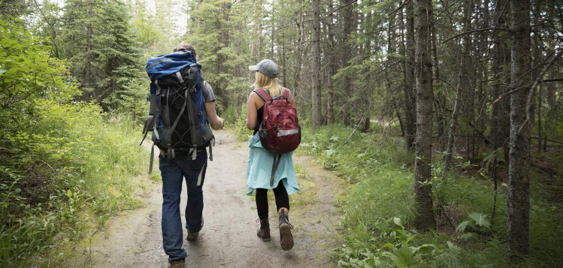 Couple hiking in woods