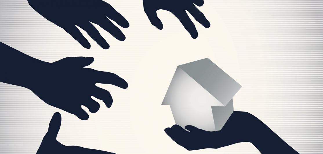 Vector image of hands grabbing at house
