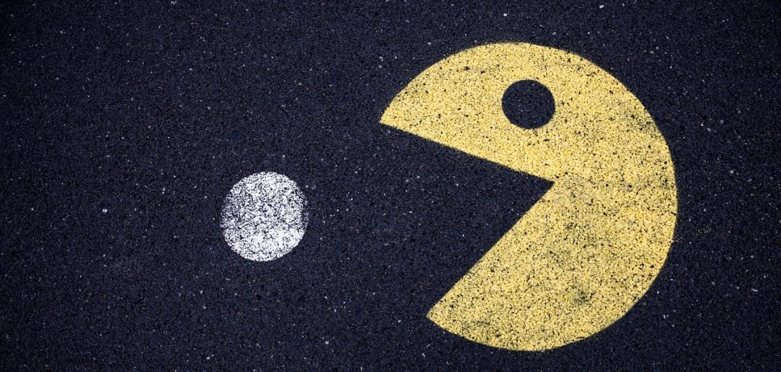 Image of Pac Man drawn in chalk