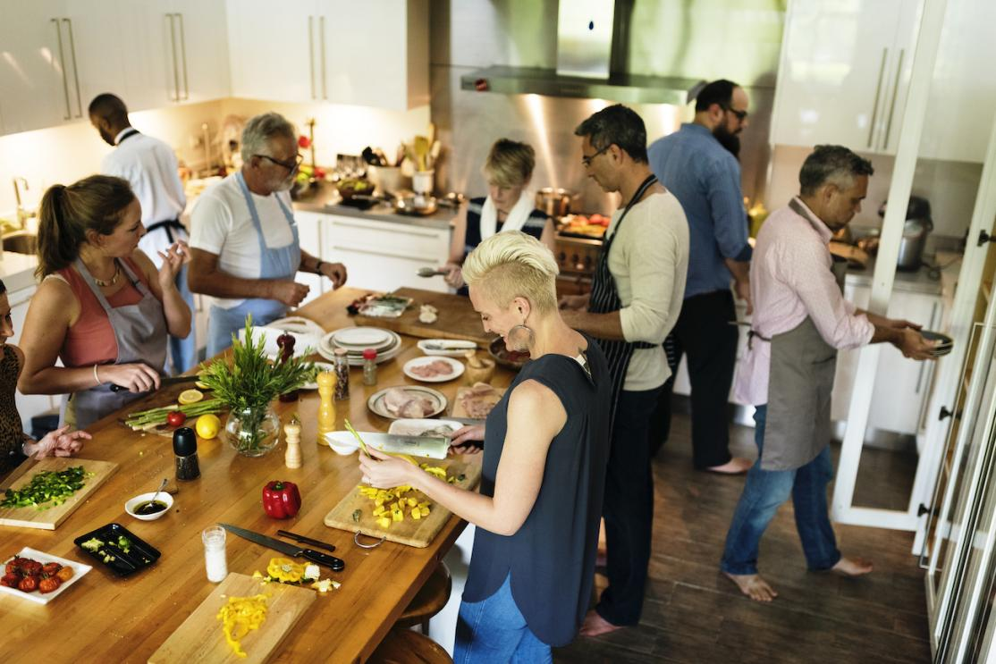 People gathering in kitchen