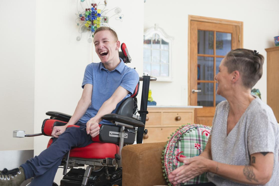Disabled young man smiling