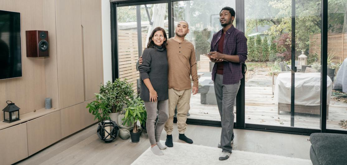 Agent showing couple the home