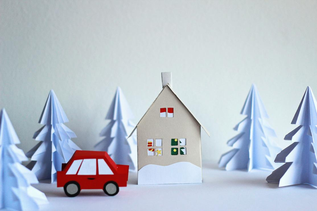 Winter snowy home and car