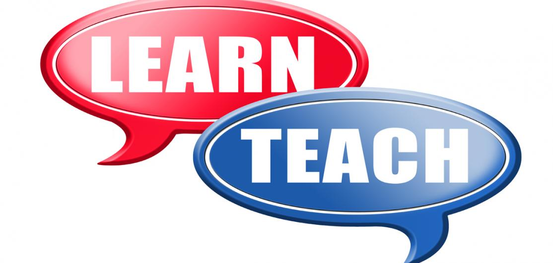 "speech bubbles with ""learn"" ""teach"""