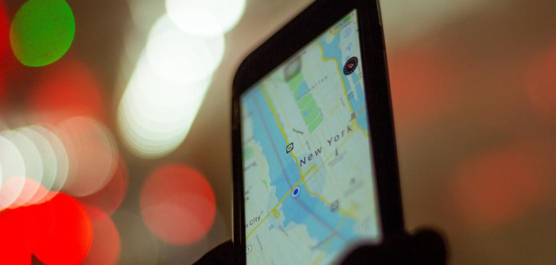 A photo of a tablet displaying a map of New York.