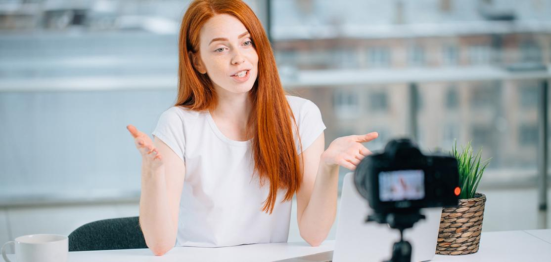 business woman recording video