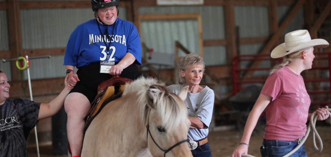 Joy Nelson, a 2018 Good Neighbor recipient who runs Joy Ranch, which provides equine therapy to children with disabilities in Wa