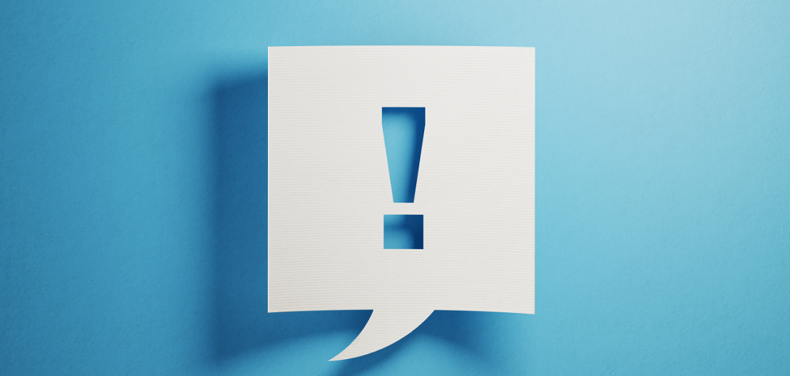 Exclamation point on blue background