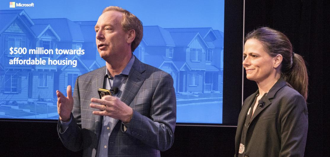 Microsoft President Brad Smith and Chief Financial Officer Amy Hood