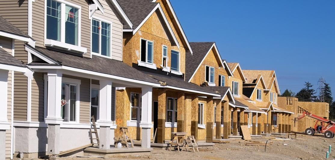 Single-family homes under construction