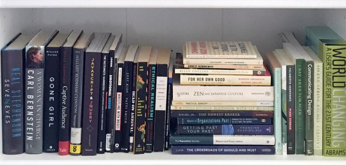 Books organized on a small bookshelf