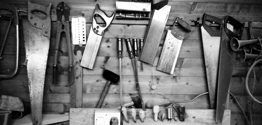 Tools displayed on a desk
